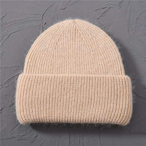 Casual Women's Hats Knitted Beanies Autumn Winter New Three Fold Thick Knitted Girls Skullies Beanies-Beige