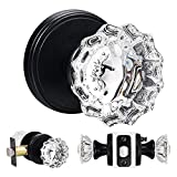 SHINY HANDLES Vintage Glass Door Knobs Interior, Crystal Door Knobs with Lock, Privacy Function for Bedroom and Bathroom (Matte Black,1Pack)