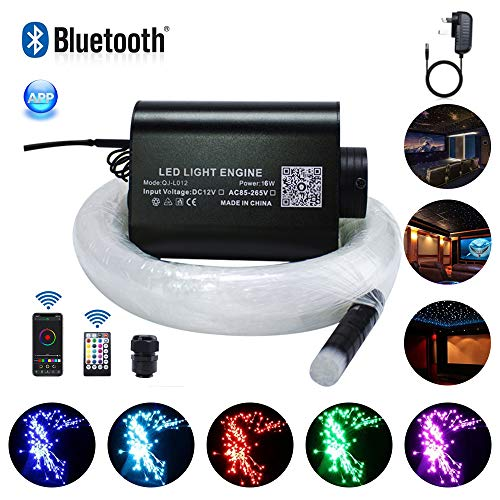 Glasfaserkabel mit LED-Lichtgenerator, RGBW, 16 Watt + akustische Steuerung und Fernbedienung mit 20 Tasten, 150pcs*0.03in*6.5ft 12.0volts
