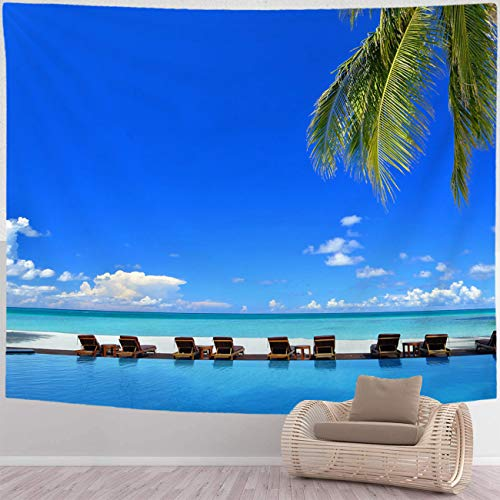 BEISISS Beach Tapestry Home Wall Hanging Nature Art Fabric Tapestry Sunbeds Beside Swimming Pool in Tropical Beach Resorts Wall Hanging Tapestries for Living Room and Bedroom,60x50 in