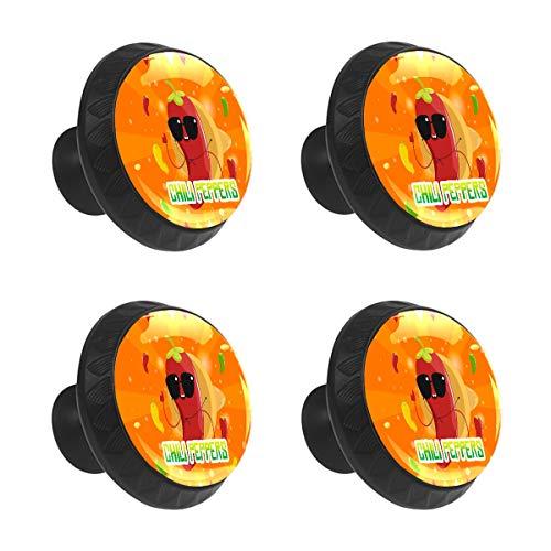 Tiradores de cajón con tirador de armario divertido de dibujos animados mexicanos para comida chile y pimientos de cristal redondo para puerta de armario con tornillos para cocina, hogar, oficina, 4 unidades
