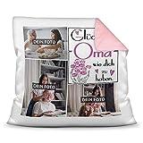Print Royal Foto-Kissen inkl. Füllung zum Selbstgestalten - für Oma - mit eigener Collage und Spruch - Bestes Fotogeschenk / Geburtstagsgeschenk - Farbkissen Rückseite Rosa