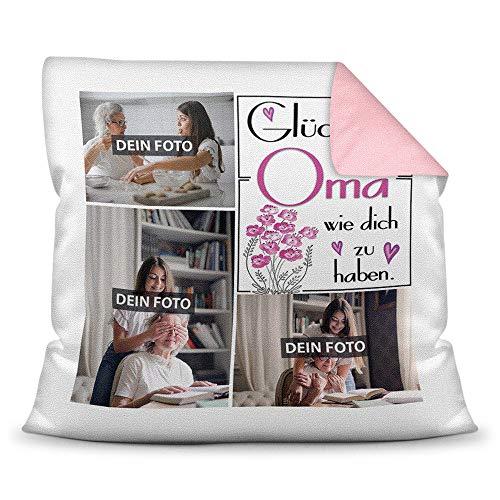 Print Royal Foto-Kissen inkl. Füllung zum Selbstgestalten - für Oma - mit eigener Collage und Spruch - Bestes Fotogeschenk/Geburtstagsgeschenk - Farbkissen Rückseite Rosa
