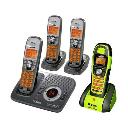 Uniden DECT 1580-4WXT DECT 6.0 Interference-Free Expandable Digital Cordless Phone w/Answering System, 3 Handsets & Waterproof Handset