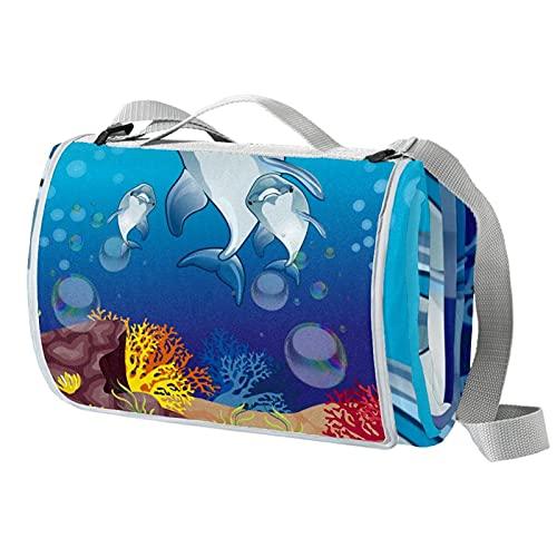 Manta de picnic portátil de 57 x 59 pulgadas, impermeable, para playa, viajes, camping, césped, música, festival lindo delfín