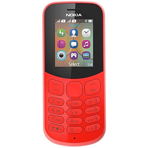 Nokia 130 - Téléphone portable débloqué GSM (Ecran 1,8 pouces, ROM 31Go, Double SIM Appareil photo 1MP) Rouge