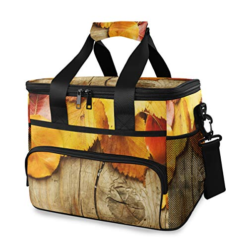 Ice Pack Lunch Bag schouderriem herfstbladeren op hout draagbare koelbox picknick reis