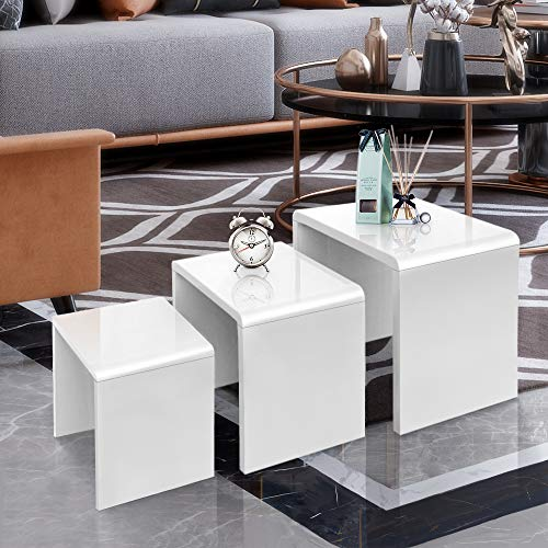 GORVELL Modern Simple Nest of 3 Tables, Multi-functional Sofa Nesting Tables End Side Tables Living Room Table, Home Office, White