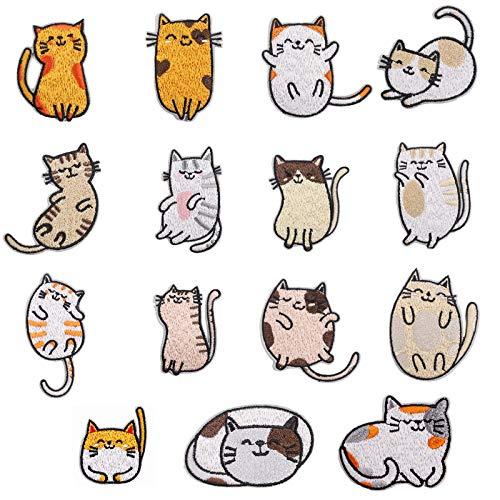 Toppe termoadesive con gatto ricamate, 15 pezzi toppe ricamate per toppe per bambini,toppe da stirare sui bambini per tasche jeans t-shirt