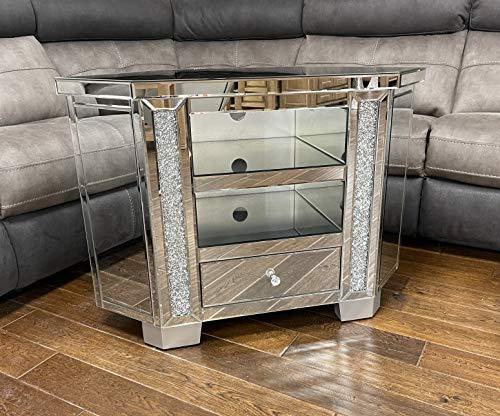 Sassy Home TV-Ständer mit Spiegeln, Kristallsteinen, Doppelregal, Einzelschublade, einfarbig, 65 x 90 x 40 cm