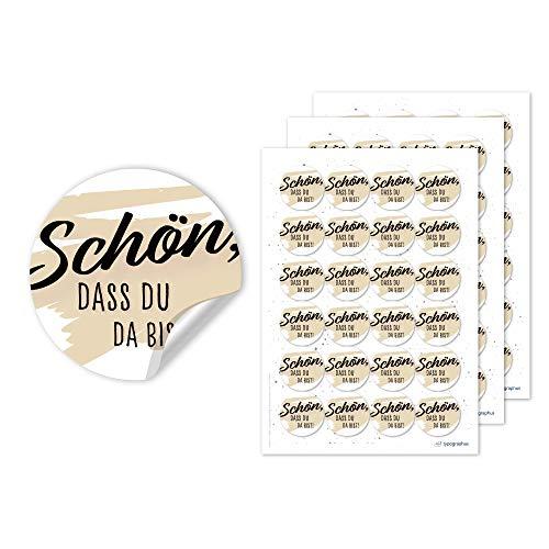 typographus Schön DASS du da bist Aufkleber Vintage schwarz beige- 72 Stück Hochzeitsaufkleber rund Ø 4cm Sticker für Gastgeschenke Deko