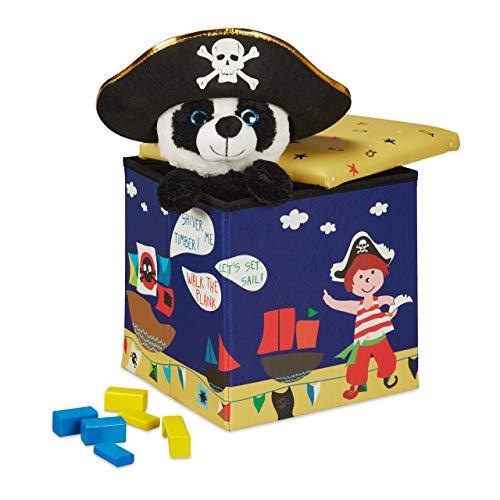 Relaxdays Sitzhocker Kinder, Piraten-Design, Sitzbox faltbar, mit Stauraum, Sitzwürfel, HxBxT 31 x 31 x 31 cm, blau-gelb, 1 Stück