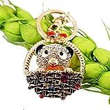 N/ A llavero Rhinestone animal cestas oso coche llavero anillos moda mujeres bolso titular clave chica joyería