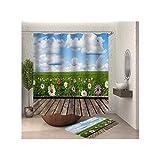 Anwaz Duschvorhang & Badezimmerteppich Set Waschbar aus Polyester Grasland Muster Design Bad Vorhang Badezimmerteppiche Bunt mit 12 Duschvorhangringen für Badewanne - 165x200CM/ 40x60CM