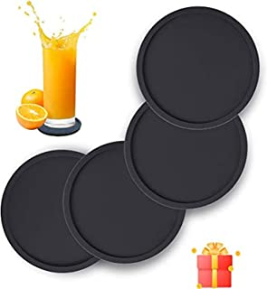 KASTWAVE Silicone Drink Coasters Set of 4, Non-Slip Cup Coasters, Heat Resistant Cup Mate, Soft Coaster for Tabletope Prot...
