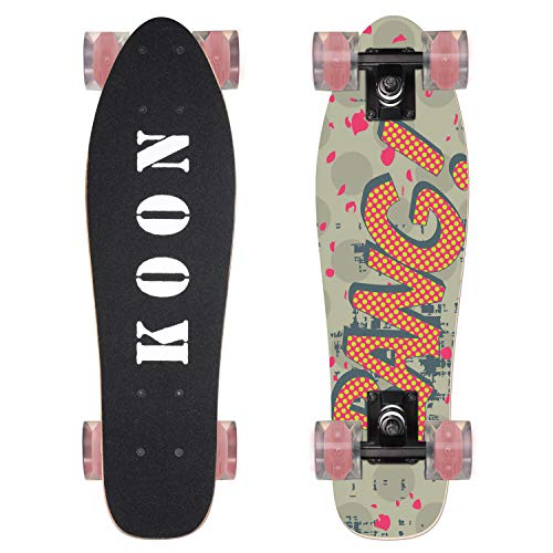 KO-ON Skateboards 22 Inch Complete Mini Cruiser Skateboard for Beginner Boys and Girls (Bang)