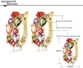 Mutlicolor Zircon Women Bridal Jewelry Set Gold Plated