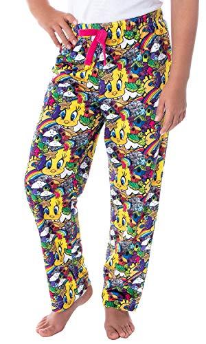 Looney Tunes Girls Tweety Bird Vivid Color Pattern Velvety Soft Sleep Lounge Pajama Pants (XS, 4/5)