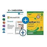 Microsoft 365 Personal | 1 abbonamento annuale |12+3 Mesi | PC/Mac | Codice d'attivazione via email + NORTON 360 Standard | 15 Mesi - Codice d'attivazione via email