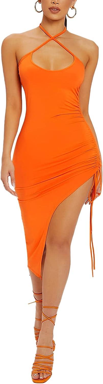 Romwe Women's Sleeveless Midi Bodycon Dress Split Ruched Backless Club Dress