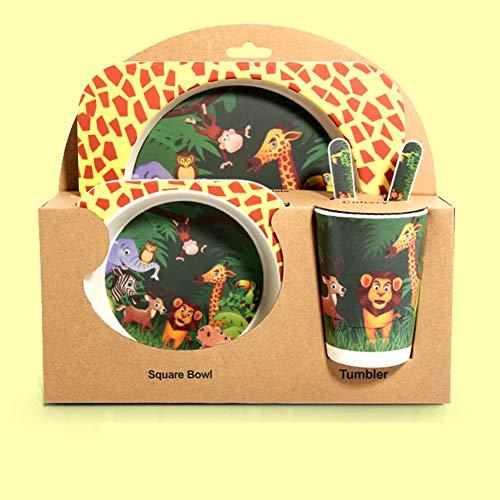 Plato de comida para bebés Plato Plato Tenedor Cuchara Taza 5 unids/set Vajilla Niños Fibra de bambú Niños Dibujos animados Animal Cebra Separación Plato Comida-zoo