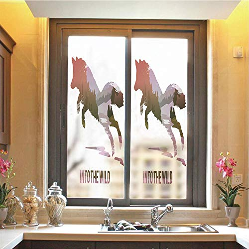 Fox 3D No Glue Static Decorative Privacy Window Films, Jumping Fox Silhouette with Woodland Wilderness Hunting Decor Survival Theme Decorative,17.7'x59',for Home & Office Decor,Lavender Brown Coral