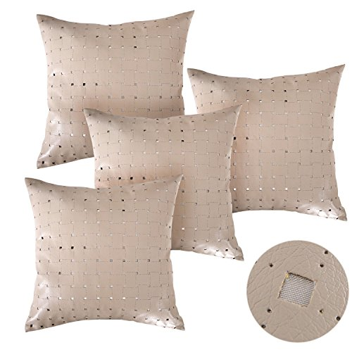 Deconovo Decorative Throw Pillowcases Square Perforated Pattern Solid Faux Leather Pillows Cushion Covers for Patio 18X18 Inch Taupe, 4 Pcs