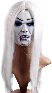 Gmddpjfl Scary halloween mask Fun Point Masquerade Mask Halloween Mask Latex Mask Horror Mask - White Hair Bleed Halloween...