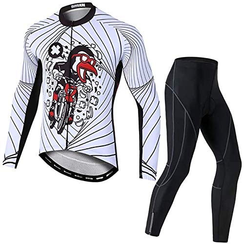 Men's Cycling Jersey Long Sleeve Set Cycling Clothing Long Sleeve Cycling Jersey with Thermal Fleece Lining Cycling Shorts with Seat Pad for Autumn (Size : Large)