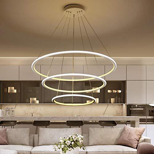 Moderne LED dimbare hanglamp, eettafel hanglamp, ronde 3-ring eetkamer hanglamp, kroonluchter 120 W aluminium woonkamer plafondlamp slaapkamer hanglamp met afstandsbediening