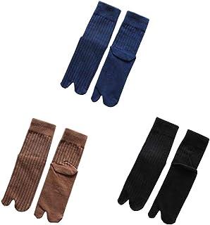 Koala Superstore, Calcetines de dos dedos de estilo japonés Calcetines de hombre Chanclas Calcetines casuales de color sólido 3 pares, azul/café/negro