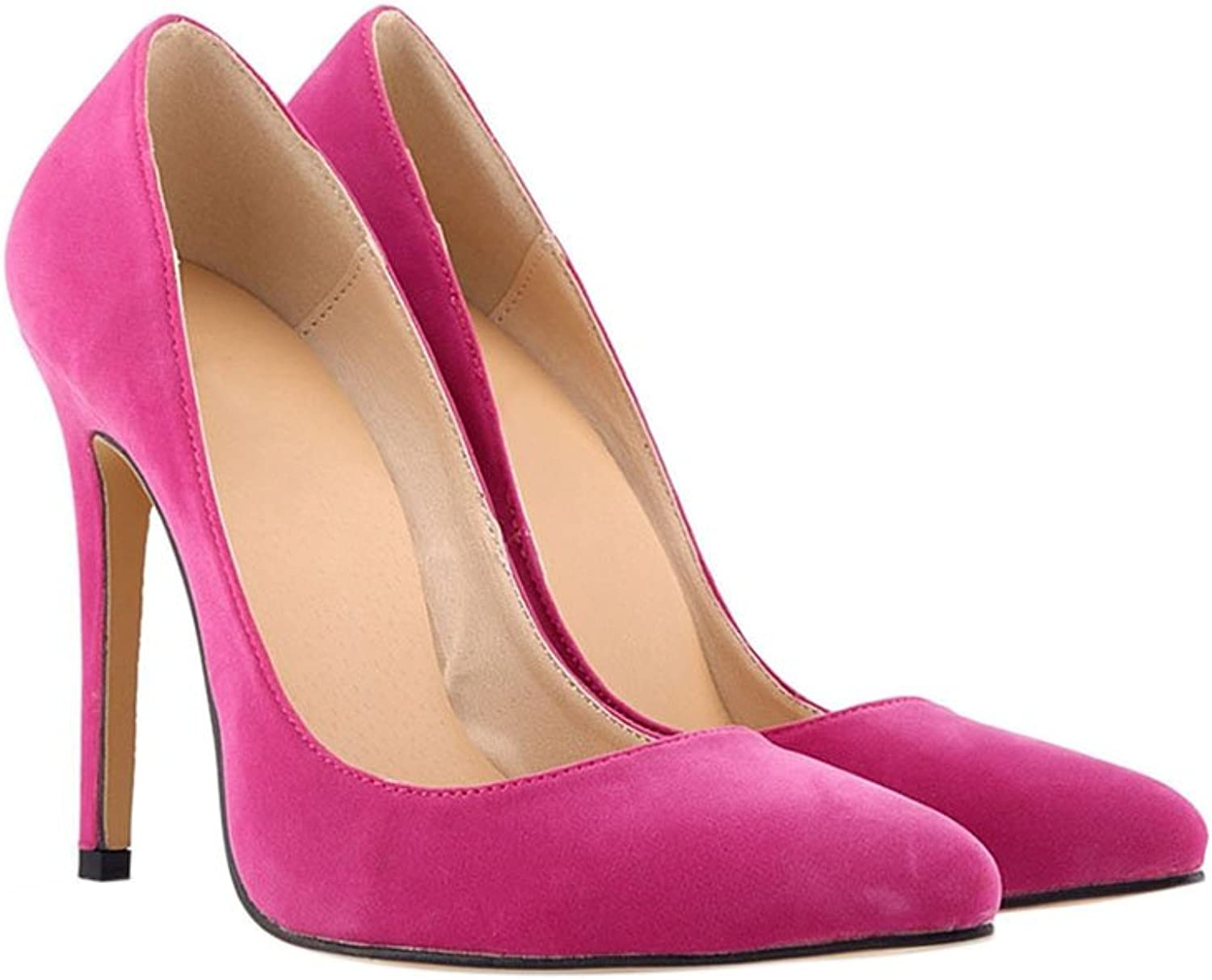 Meijunter Ladies 11CM High Heel Pointed Stiletto Suede Leather Classic Pumps shoes pink Red