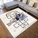 SHACOS Kinderteppich Kurzflor Flauschig Krabbelmatte Weich Groß Beige Krabbelteppich Baby Teppich Babyzimmer Kinderzimmer Jungen Spielmatte Waschbar rutschfest 120x170 cm