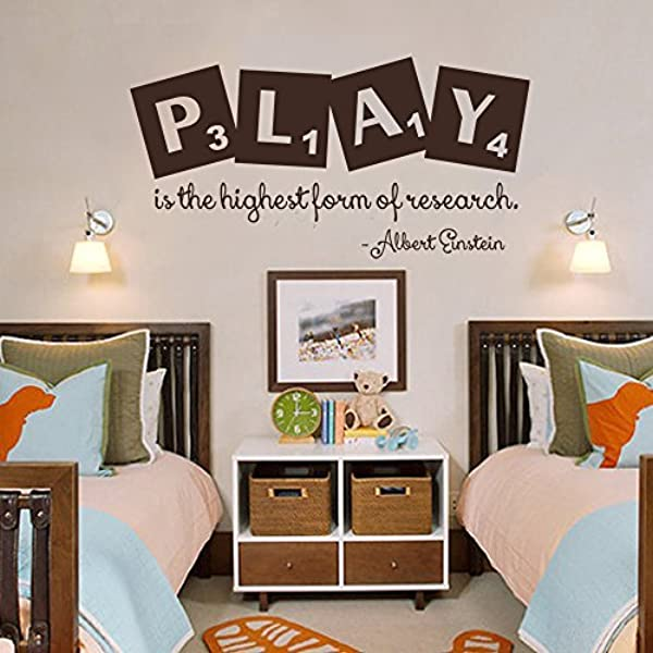 Wall Decal Decor Playroom Decor Play Is The Highest Form Of Research Albert Einstein Quote Playroom Decal Childrens Kids Wall Decal Sticker Black 17 H X34 W