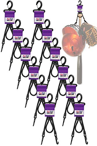 (Team 12 Pack) Dugout Gear Hanger - The Dugout Organizer - for Baseball and Softball to Hold Bats, Helmets and Gloves (Purple)