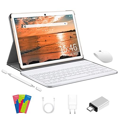 Tablet 10 Pulgadas 4G LTE WiFi, Android 10.0 Ultrar-Rápido Tablets 4GB RAM + 64GB ROM / 128GB Escalable, Laptop Convertible de Oficina-Quad Core, Dual SIM 8000mAh|Bluetooth|GPS|OTG|Type-C (Oro)