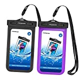 MoKo Waterproof Phone Pouch [2 Pack], Underwater Waterproof Cellphone Case Dry Bag with Lanyard Compatible with iPhone 11/11 Pro/11 Pro Max/X/Xs/Xr/Xs Max/8/7, Samsung S10/S9/S8 Plus/S10 e, Up to 6.5'