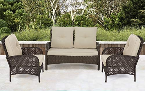 Best U-MAX 3 Pieces Outdoor Furniture Set,Patio PE Rattan Wicker Sofa Sectional Furniture Set with Cushio