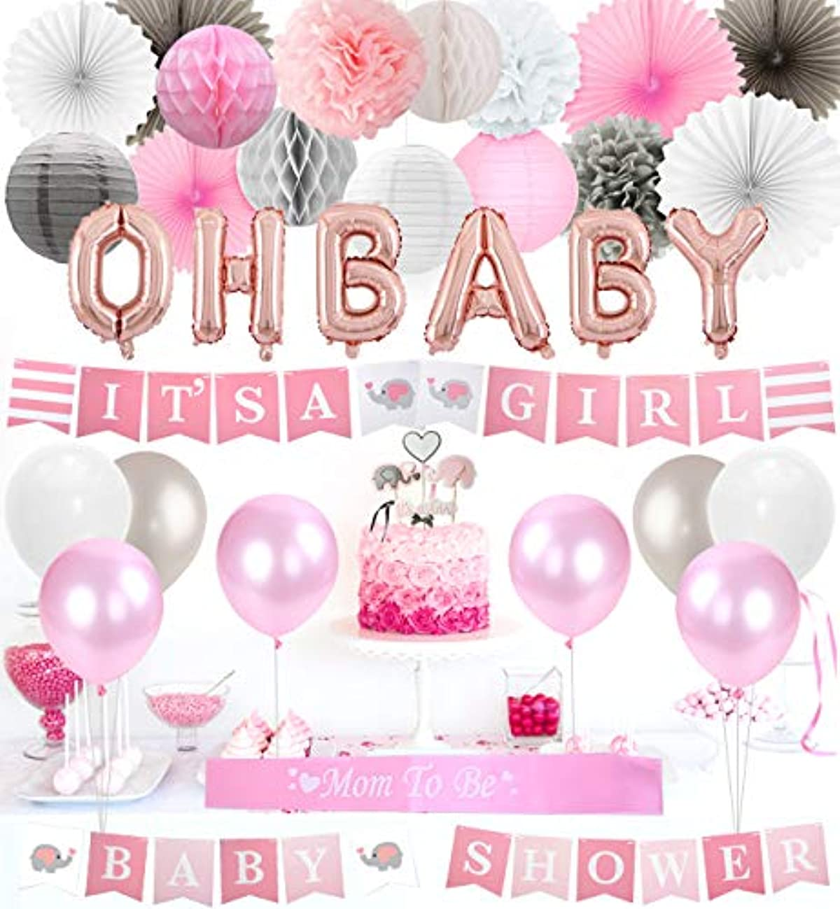 Baby Shower Decorations for Girls Elephant Theme Pink and Gray, It's a Girl Baby Shower Banner, Cake Toppers, Paper Pom Poms Fans and Balloons Set