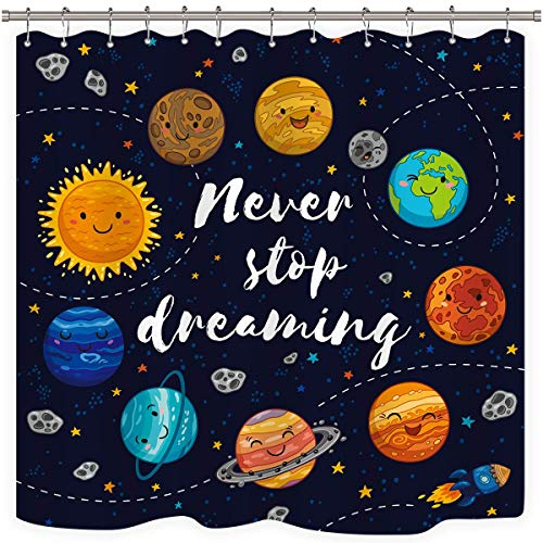 Riyidecor Cute Planet Quotes Shower Curtain Kids Cartoon Star Cluster Space Galaxy Solar System Universe Decor Fabric Bathroom Set 72x72 Inch 12 Pack Plastic Shower Hooks Included