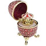 Huevo de Fabergé rojo con carrusel de caballo sorpresa en el interior de la música jugando baratija de huevo ruso decorado con cristales de Swarovski Coleccionistas, huevo de Pascua