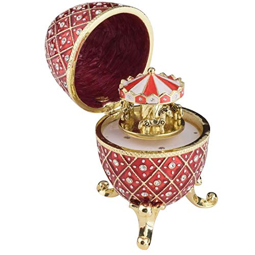 Keren Kopal Red Faberge Egg with Horse Carousel Surprise Inside Trinket Box Russian Egg Decorated with Crystals Collectors Easter Egg