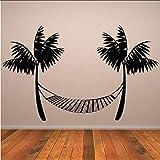 Lglays Creativo Tatuajes De Pared De Vinilo Durable Negro Impreso Playa Hamaca Etiqueta De La Pared Palmeras Decoración Para El Hogar92 * 59 Cm