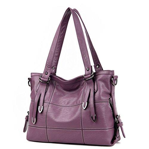 DEERWORD Damen Taschen Handtaschen Elegant Frau Schultertaschen Lack PU-Leder Henkeltaschen Schwarzrot