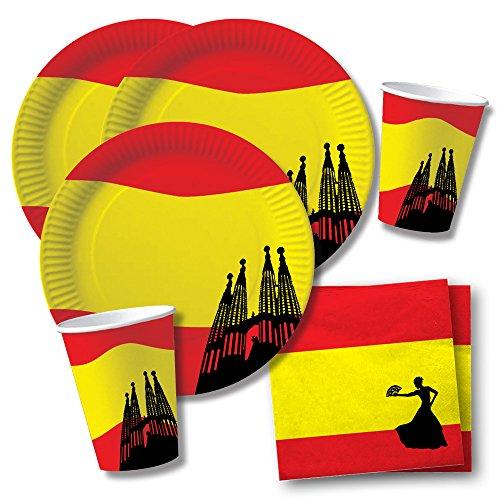 DH-Konzept Set de fiesta de España (40 piezas, platos, vasos y servilletas para 10 personas)