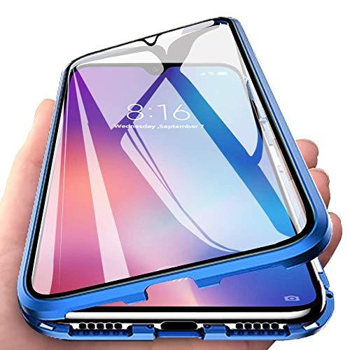 Handyhülle für Xiaomi Mi Note 10 Lite, [Metall Rahmen] Hülle Magnetisch Adsorption [Doppelseitig 9H Glas] Aluminium Bumper Magnet Hülle Kratzfeste Panzerglasfolie 360 Schutzhülle, Blau