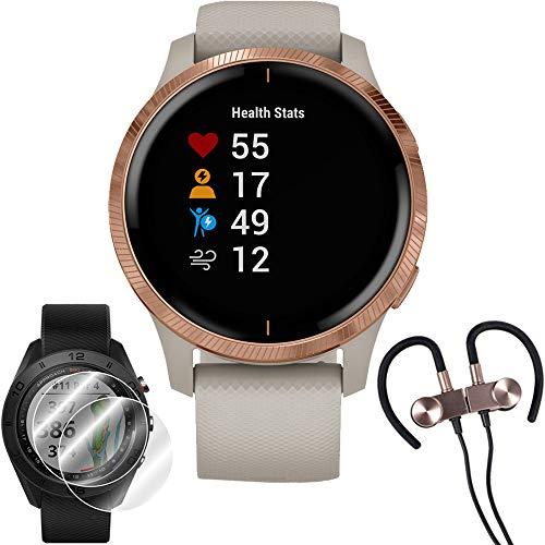 Garmin Venu Amoled GPS Smartwatch (Rose Gold,Light Sand Band) & Wireless Earbuds + More