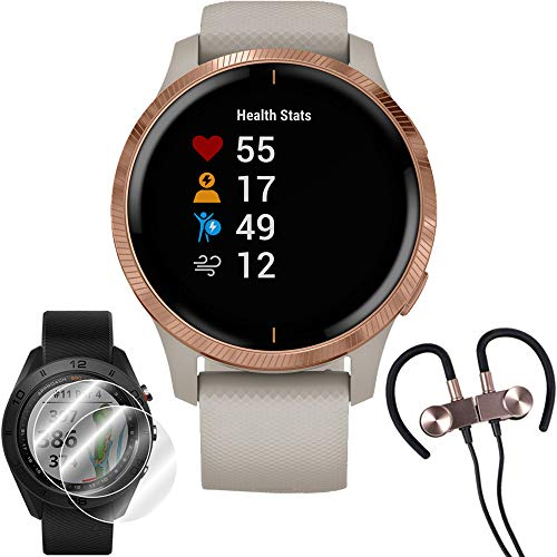 Garmin Venu Amoled GPS Smartwatch (Rose Gold,Light Sand Band) & Wireless Earbuds + More
