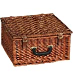 Household Essentials Woven Willow Square Shaped 2 Person Picnic Basket...