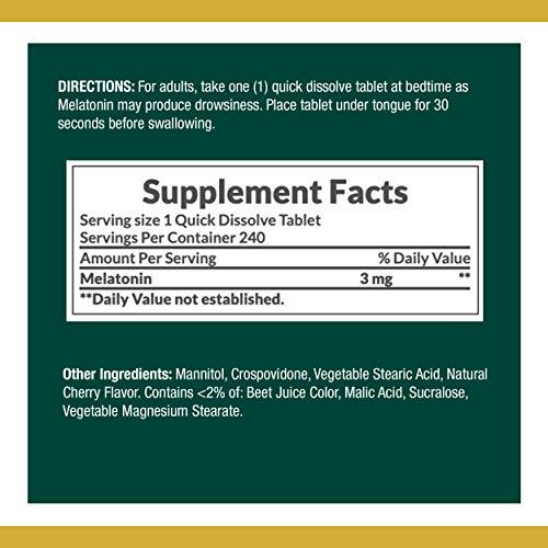 Nature's Bounty Melatonin de, ayuda para dormir 100% libre de drogas, suplemento dietético 3 mg, 3 mg 240 unidades